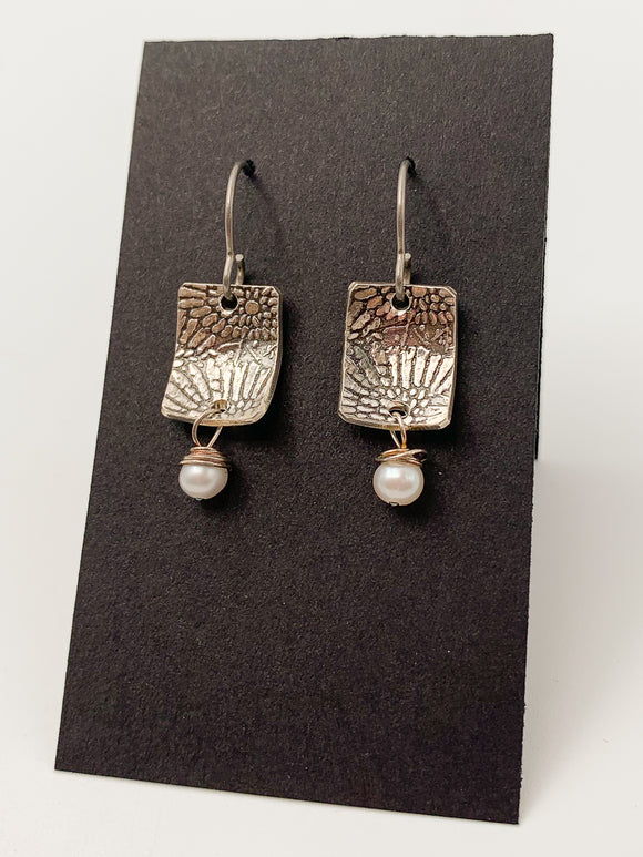 Daisy and Pearl Stamped Earrings by Lisa Williams