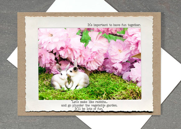 Bunny Romance Greeting Card by Jamie Redmond