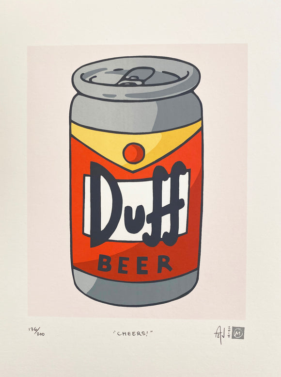 Cheers! Duff Beer Silkscreen Print by Allison and Jonathan Metzger