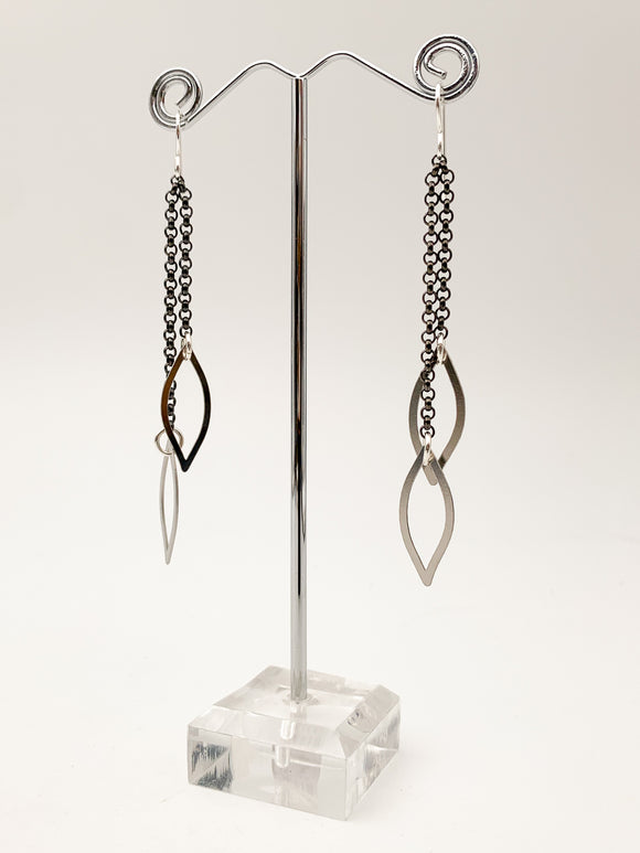 Chain and Leaf Earrings by Daphne Olive