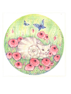 Flower Cat Greeting Card by Liza Paizis