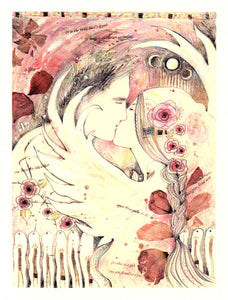 Lover's Tryst Greeting Card by Liza Paizis