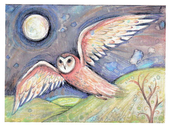 Owl Flight Greeting Card by Liza Paizis