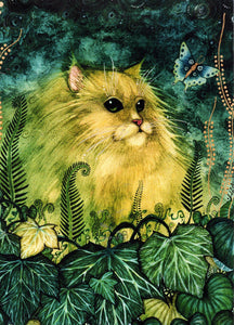 Green Cat Reproduction by Liza Paizis