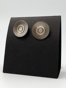 Titanium and Silver Circle Earrings by Kenneth Pillsworth