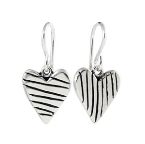 Striped Heart Earrings by Mark Poulin