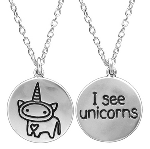 Reversible I See Unicorns Necklace by Mark Poulin