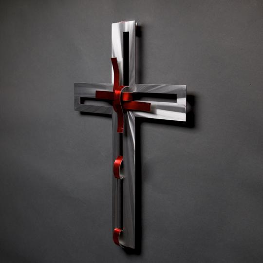 Ribbon Cross Wall Sculpture by Metal Petal Art