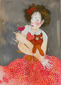 Wine Drinker with Funny Dog giclee reproduction by Beth Bird