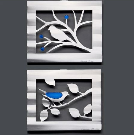 Berries & Leaves Bird Panel Wall Sculpture by Metal Petal Art
