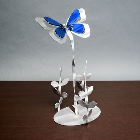 Butterfly Garden Sculpture by Metal Petal Art