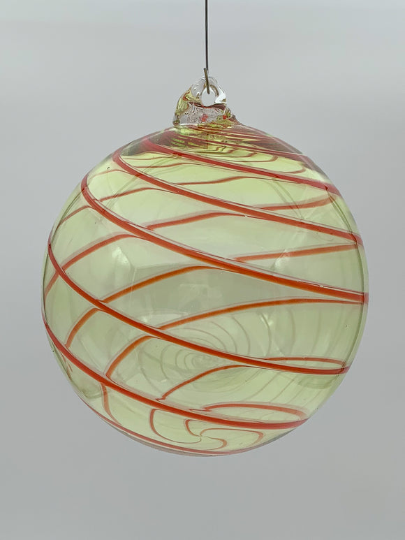Yellow and Red Medium Round Ornament by Fritz Glass