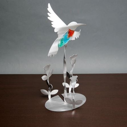Hummingbird Garden Sculpture by Metal Petal Art