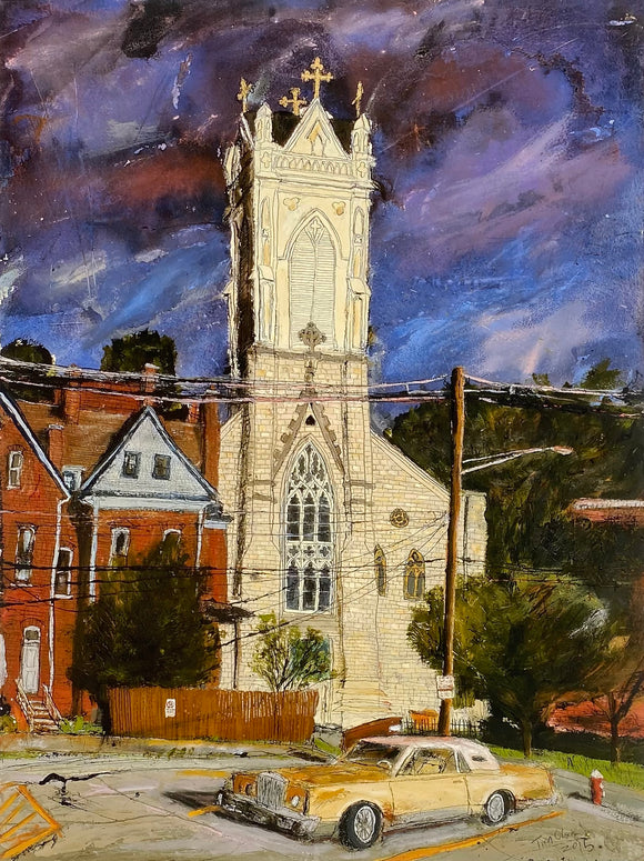Cathedral and Yellow Car reproduction by Tim Olson