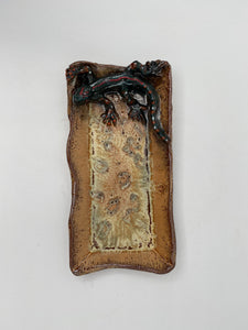 Rectangular Dish with Lizard by Nancy Briggs