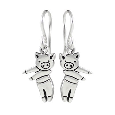 Dancing Pig Earrings by Mark Poulin
