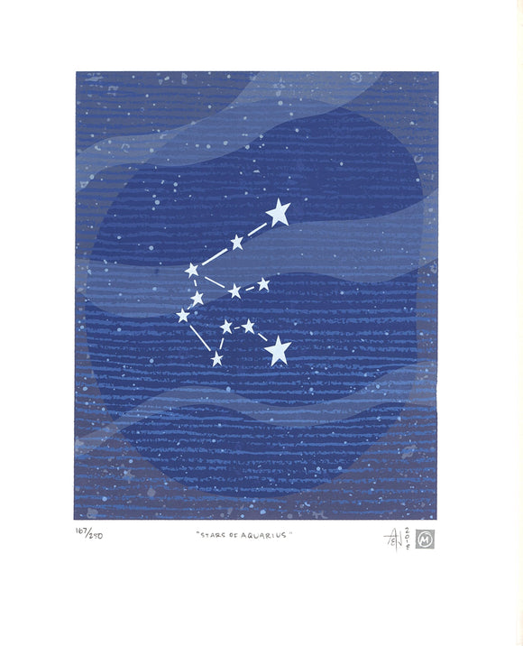 Stars of Aquarius Silkscreen Print by Allison and Jonathan Metzger