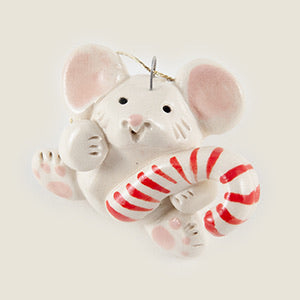 Mouse with Candy Cane Ceramic