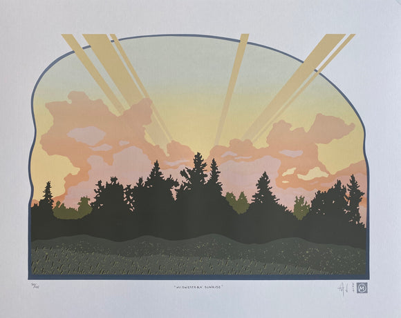 Midwestern Sunrise Silkscreen Print by Allison and Jonathan Metzger