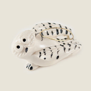 "Snowy Owl Ceramic ""Little Guy"" Ornament by Cindy Pacileo"