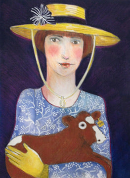 Girl with a Newborn Calf giclee reproduction by Beth Bird