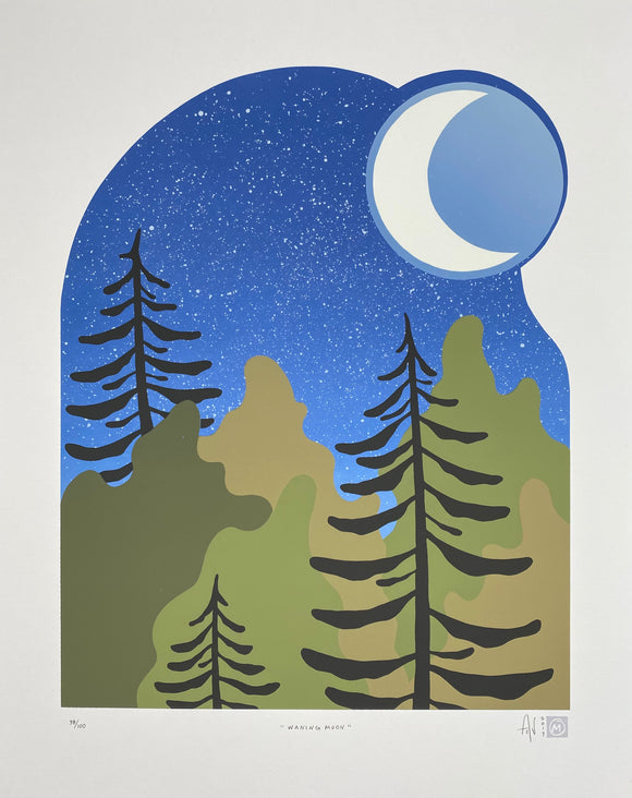 Waning Moon Silkscreen Print by Allison and Jonathan Metzger