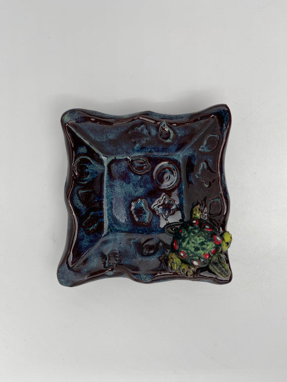 Square Dish with Turtle by Nancy Briggs