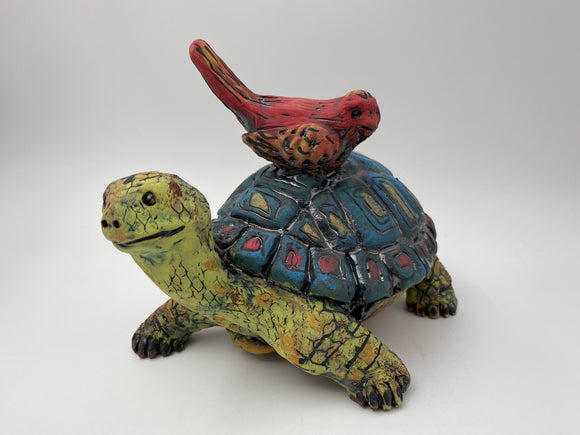 Tortoise and Bird Sculpture by Nancy Briggs