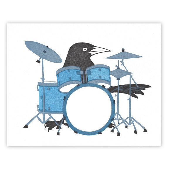 Drumkit Grackle 8x10 Print by Burdock & Bramble