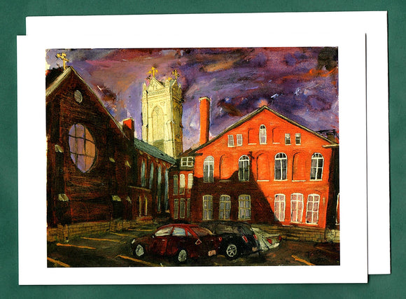 Cathedral and Parking Lot Greeting Card by Tim Olson