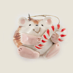 Hedgehog with Candy Cane Ceramic