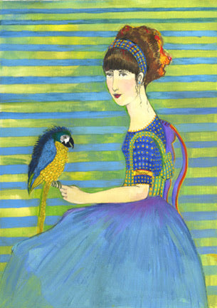 Girl Holding a Yellow Macaw giclee reproduction by Beth Bird