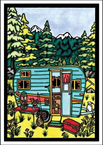 Camping Greeting Card by Sarah Angst