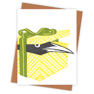 Gift-wrapped Grackle Card by Burdock & Bramble