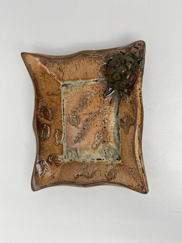 Rectangular Dish with Turtle by Nancy Briggs