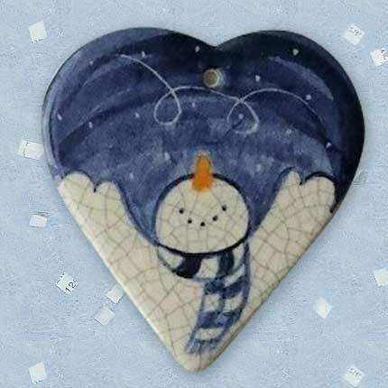 Joyful Snowman Ceramic Ornament by Mary DeCaprio