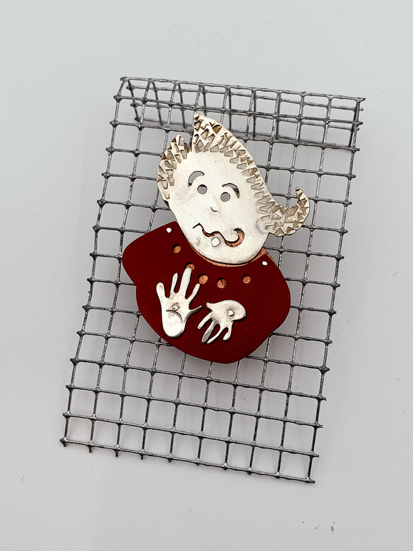 Red Face Pin by Janet Rubenstein
