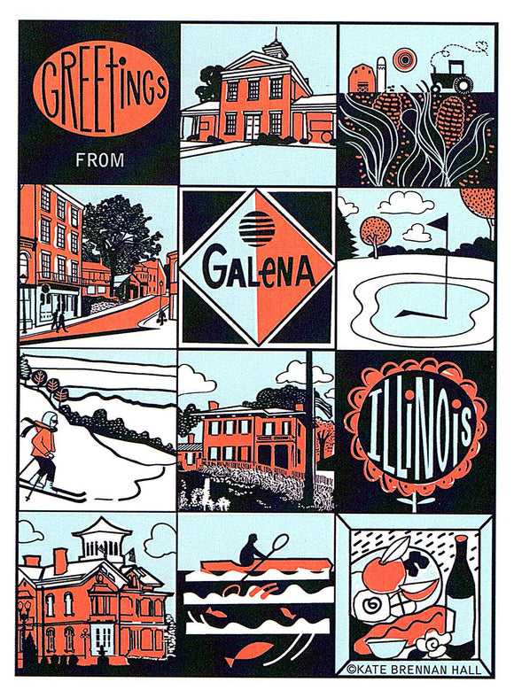 Galena, Illinois Postcard by Kate Brennan Hall