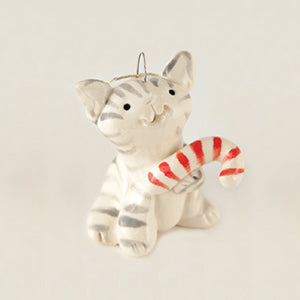 "Cat with Candy Cane Ceramic ""Little Guy"" Ornament by Cindy Pacilo"