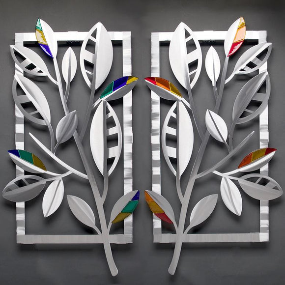 Striped Leaves with Glass Wall Sculpture by Metal Petal Art