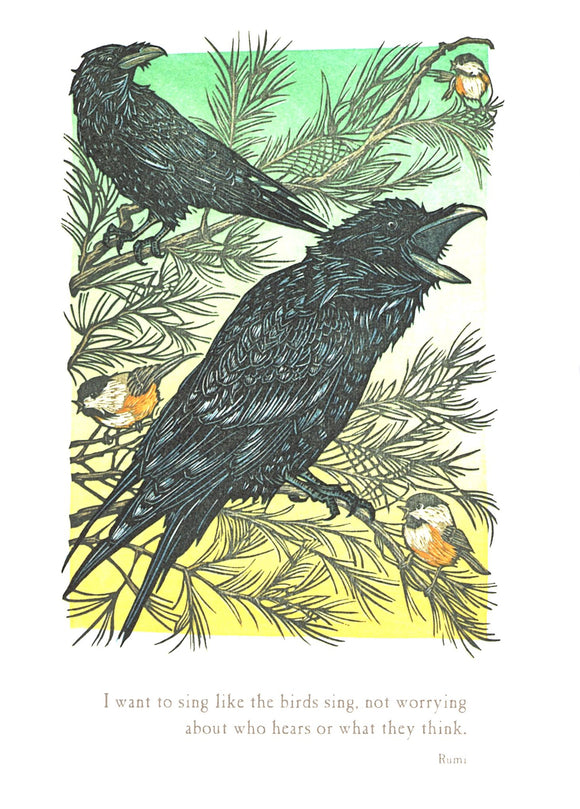 Ravens Perch, Chickadees Call Blank Card from Artists to Watch