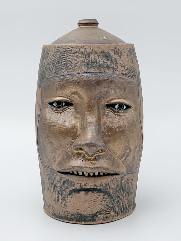 Bronze Woodfire Face Jar by Ryan Myers
