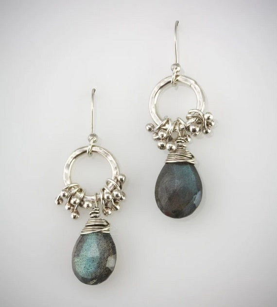 Hoop Peg Earrings in Silver by Austin Titus