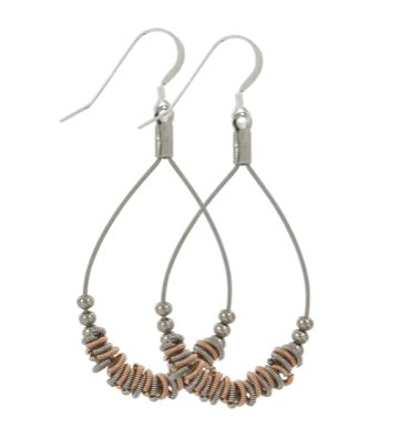 Two-tone Staccato Teardrop Earrings by High Strung Studio