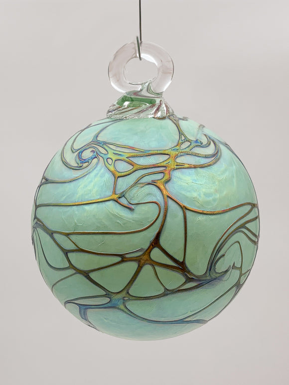 Marbled Mint Round Ornament by Vines Art Glass