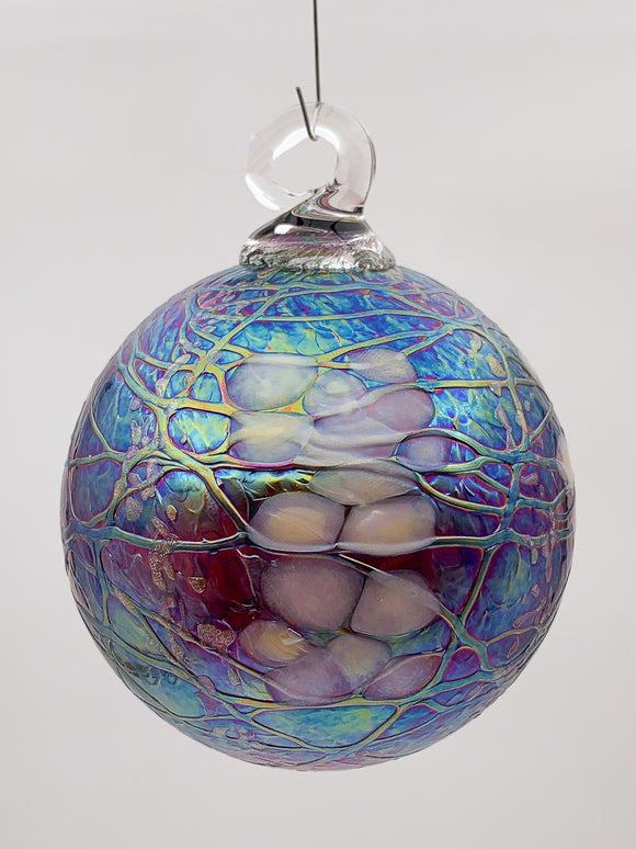 Blossoms and Vines Round Ornament by Vines Art Glass