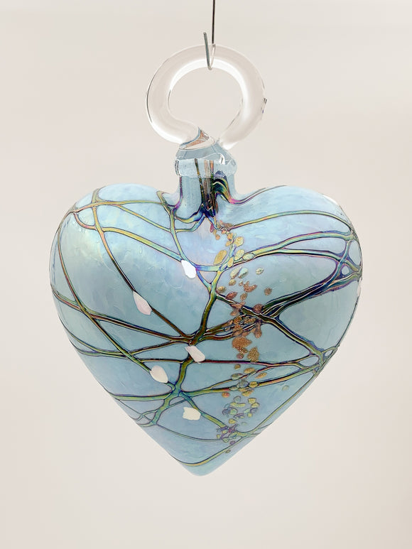 Turquoise and Silver Heart Ornament by Vines Art Glass
