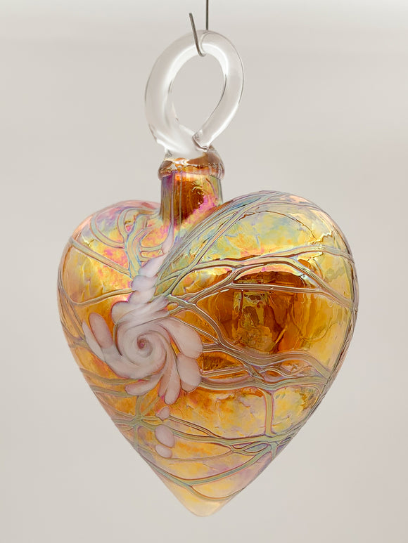 Gold Swirl Heart Ornament by Vines Art Glass