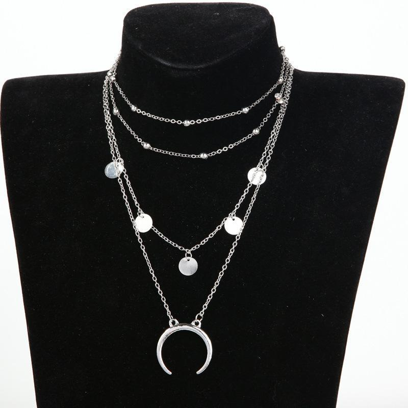 Celestine Moon Multi Layered Necklace Necklace Ellie Sage Silver