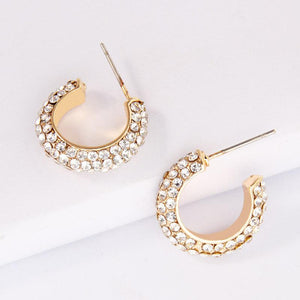 Fearless Crystal Hoops Earrings elliesage Gold